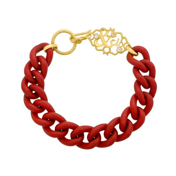 Gold Sisters Dark Red Link Bracelet with Cubic Zirconia in 14K Gold-Plated Sterling Silver