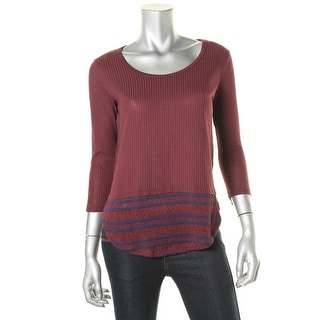 Energie Womens Juniors Faux Layered Textured Pullover Top