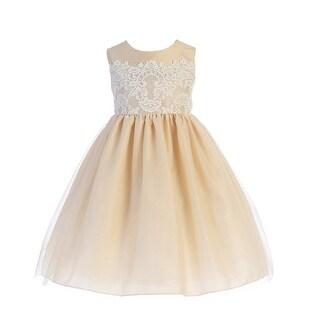 Crayon Kids Little Girls Champagne Lace Applique Easter Flower Girl Dress