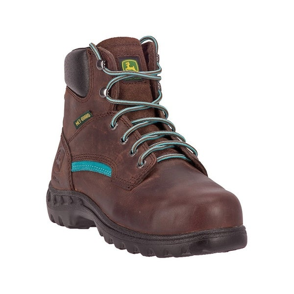 John Deere Work Boots Womens Leather Lacer Steel Toe Brown