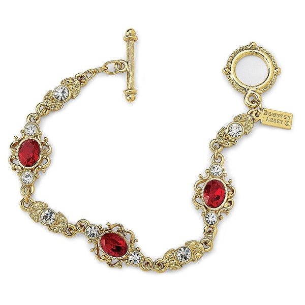 Women's Downton Abbey Ruby Red Gold Filigree Link Bracelet