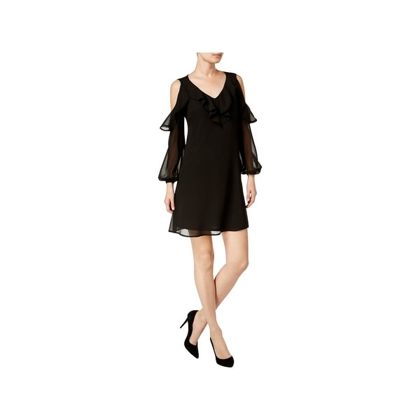 Taylor Womens Cocktail Dress Ruffled Cold Shoulder