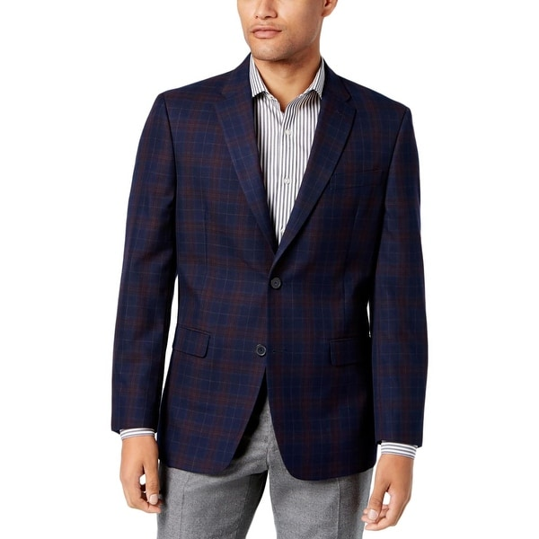 7683a975a Shop Tommy Hilfiger Mens Ethan Two-Button Blazer Plaid Slim Fit - Free  Shipping Today - Overstock - 23141102
