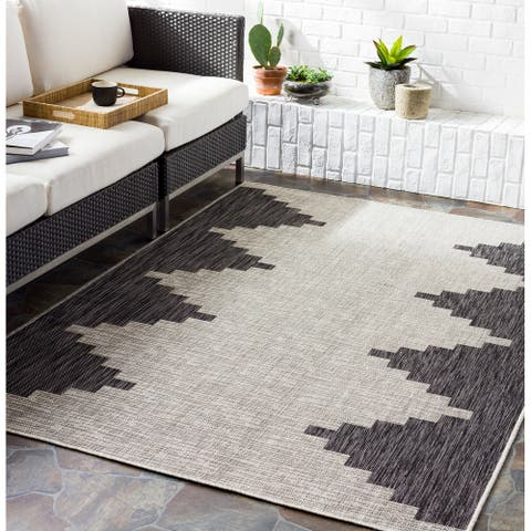 Jazsmin Indoor/ Outdoor Diamond Stripe Area Rug