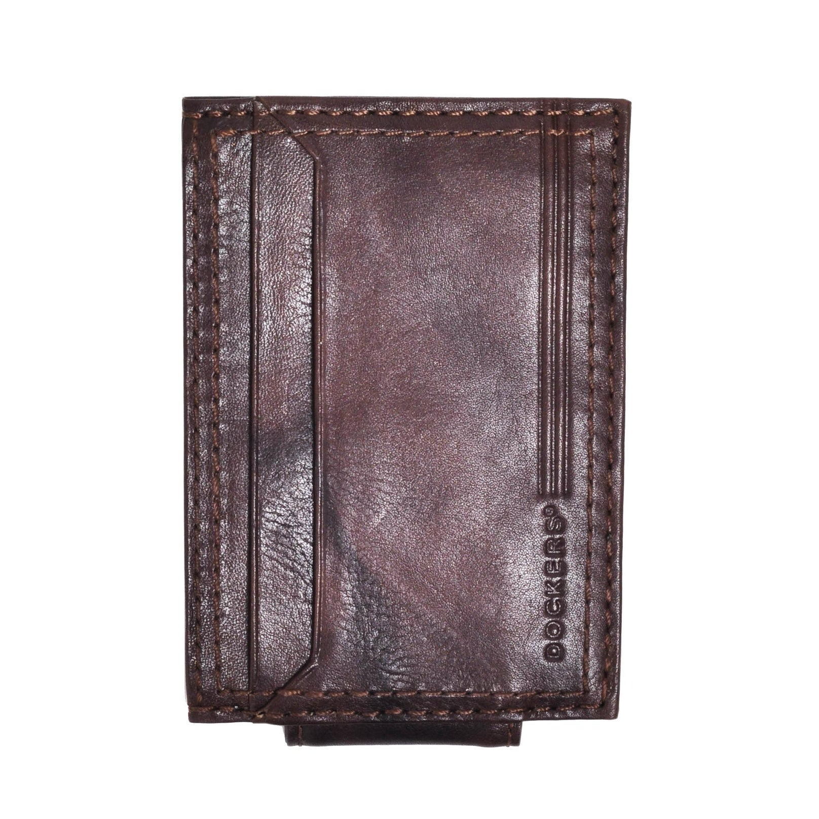98cea006f0aa Dockers Men's Leather Front Pocket Card Case Wallet with Magnetic Money  Clip - one size