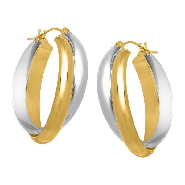 Crossover Hoop Earrings in 14K Gold-Bonded Sterling Silver