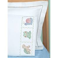 Children's Stamped Pillowcase W/White Perle Edge 1/Pkg-Froggy - White