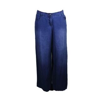 Max Studio London Indigo Cotton Wide-Leg Pants 8