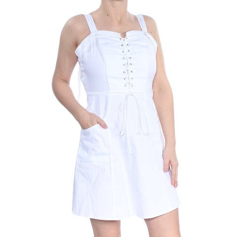 XOXO White Sleeveless Mini Fit + Flare Dress Size L