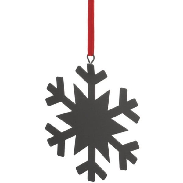 """6.25"""" Black Chalkboard-Finished Snowflake Christmas Ornament for Personalization"""
