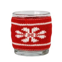 "3.25"" Red and White Knitted Snowflake Design Votive Christmas Candle Holder"