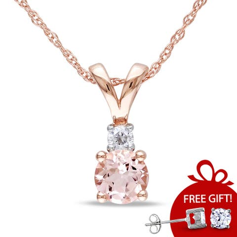 Miadora 10k Rose Gold 1/2ct TGW Morganite and Diamond Accent Necklace - 17 in x 12.9 mm x 4.8 mm - 17 in x 12.9 mm x 4.8 mm