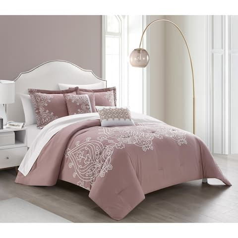 Chic Home Mimi 5 Piece Comforter Set Scroll Embroidered Bedding - Decorative Pillows Shams Included