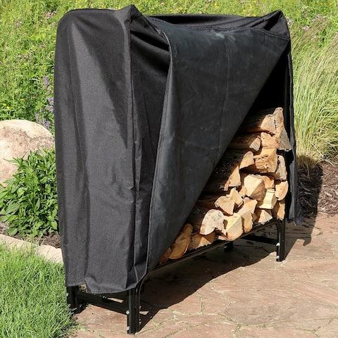 Sunnydaze Black Steel Outdoor Firewood Log Rack with Black Cover - 4-Foot