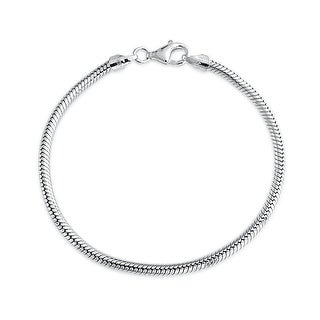 Bling Jewelry Sterling Silver Snake Chain Bracelet 3mm for European Charms Bead (2 options available)