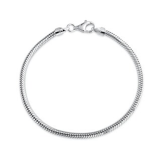 Bling Jewelry Sterling Silver Snake Chain Bracelet 3mm for European Charms Bead (3 options available)