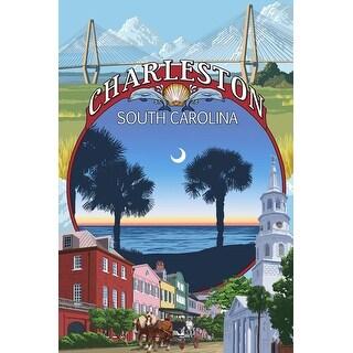 Charleston, SC - Town Views? - LP Artwork (Art Print - Multiple Sizes Available)