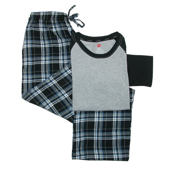 Hanes Men's Cotton Long Sleeve Shirt and Flannel Pajama Pants