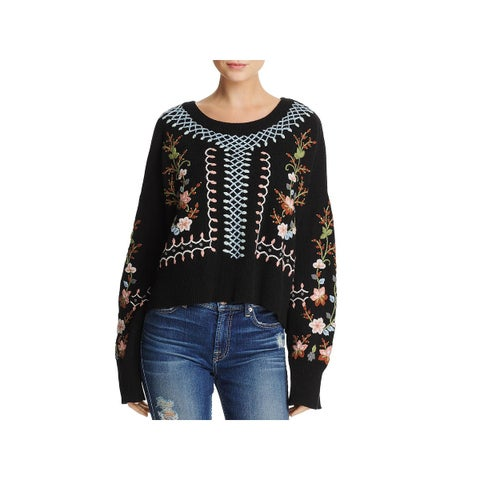 French Connection Womens Bijou Crop Sweater Lambswool Embroidered - S