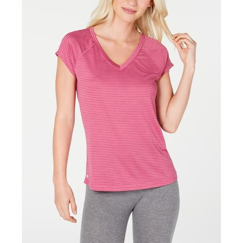 Ideology Women's Striped V-Neck Soft T-Shirt, Red Passion, XS