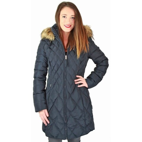 Jessica Simpson Quilted Women's Mid-Length Diamond Down Parka Coat Jacket