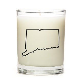Custom Candles with the Map Outline Conneticut, Fine Bourbon