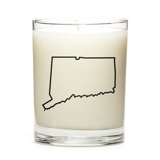 Custom Candles with the Map Outline Conneticut, Lemon