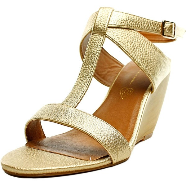 BC Footwear Thrilled Women Open Toe Synthetic Gold Wedge Sandal