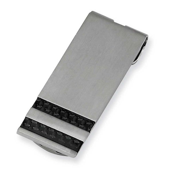 Chisel Black Carbon Fiber Brushed Stainless Steel Money Clip