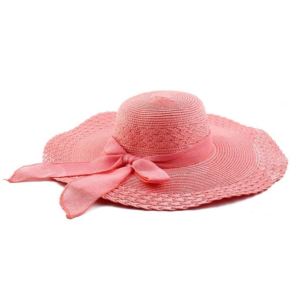 ecd5b44f Woman Party Travel Wide Floppy Brimmed Summer Beach Straw Cap Sun Hat Pink