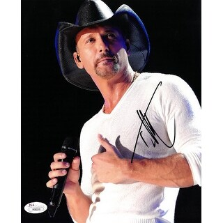 Tim McGraw signed 8x10 Photo (Hat/Microphone)- JSA Hologram #H08318 (country music/entertainment)
