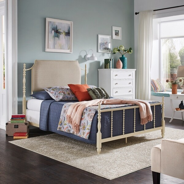 Maureen Sandstone and Taupe Linen Metal Queen Bed by iNSPIRE Q Bold. Opens flyout.