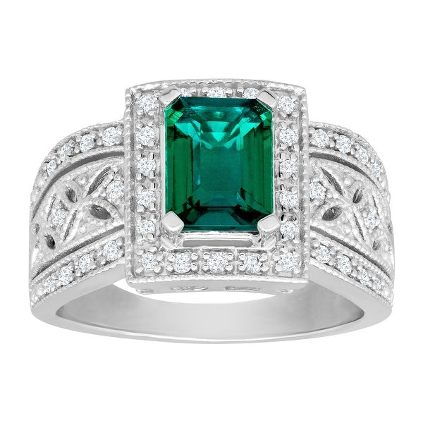 1 3/8 ct Created Emerald and 1/4 ct Diamond Ring in Sterling Silver