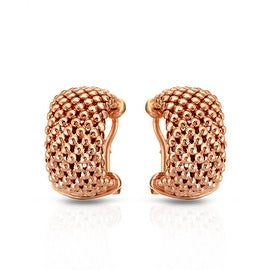 MCS JEWELRY INC STERLING SILVER GOLD PLATED PINK MESH HOOP EARRINGS