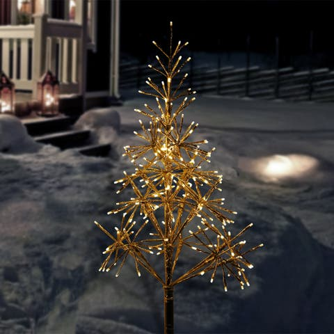 Alpine Corporation Artificial Golden Christmas Tree with Warm White LED Lights