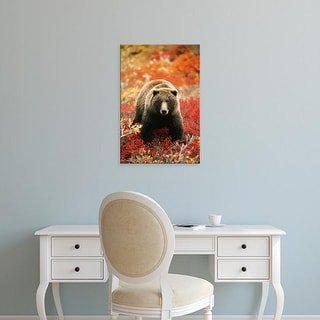 Easy Art Prints Hugh Rose's 'Grizzly Bear Standing Amongst Alpine Blueberries' Premium Canvas Art