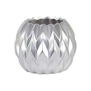 Urban Trends Ceramic Round Low Vase with Uneven Lip and Embossed Wave Design Matte Finish Silver - large