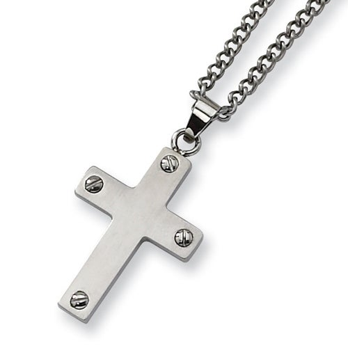 Chisel Brushed Stainless Steel Cross Necklace on 22 Inch Chain (2 mm) - 22 in