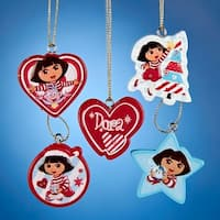 "Club Pack of 120 Dora the Explorer Printed Mini Christmas Ornaments 2"" - RED"