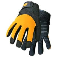 Cat CAT012215L Men's Padded Palm Glove, Large, Black & Yellow