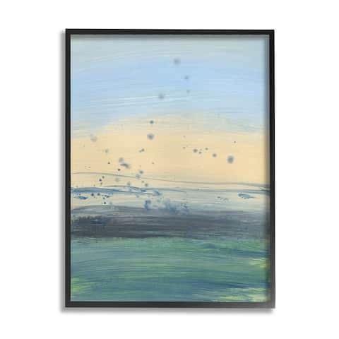 Stupell Industries Conceptual Yellow Ocean Sunset Blue Paint Splatter Framed Wall Art