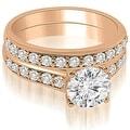 1.10 cttw. 14K Rose Gold Cathedral Round Cut Diamond Bridal Set - Thumbnail 0