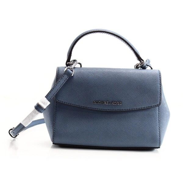 89d1c4e076025 Shop Michael Kors NEW Blue Denim Saffiano Ava Mini Crossbody Bag ...