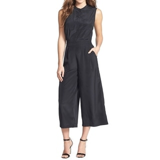 Halogen NEW Black Women's Size Small S Cropped Button-Front Jumpsuit