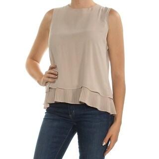 Womens Beige Sleeveless Jewel Neck Tiered Top Size M