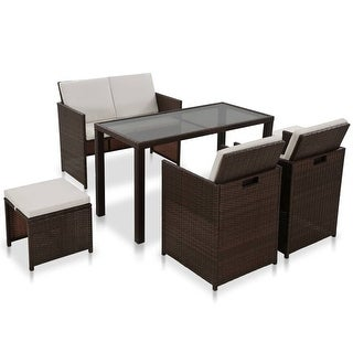 Shop vidaXL 6 Piece Outdoor Dining Set with Cushions Poly ... on Safavieh Outdoor Living Horus Dining Set id=77437