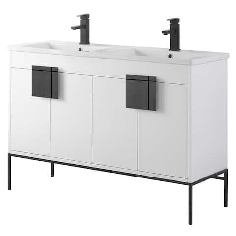"Modern Bathroom Vanity Set, Vitreous China Double Sink Top 48"""