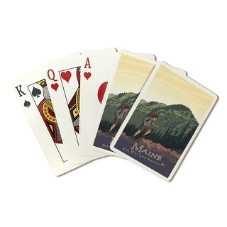 Maine - Hiking Scene - The Way Life Should Be - Lantern Press Artwork (Poker Playing Cards Deck)