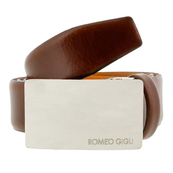 Romeo Gigli C838/35S Brown Leather Adjustable Mens Belt