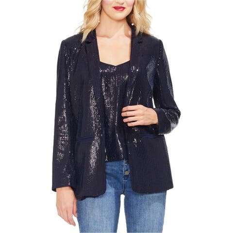 Vince Camuto Womens Sequin Blazer Jacket, blue, 8